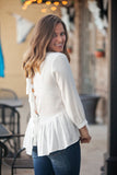 Destiny peplum top in ivory