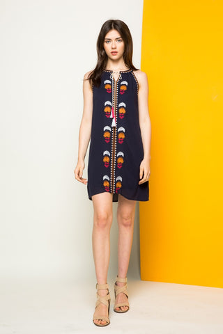 Kevie Embroidered Halter dress
