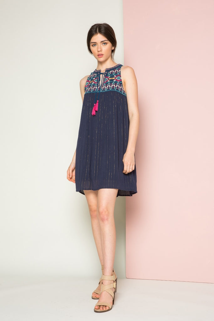 Beth Embroidered Halter Dress