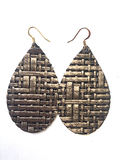 Grace leather earrings in Panama bronze