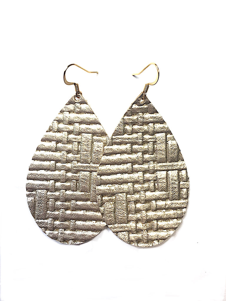Grace leather earrings in Panama gold