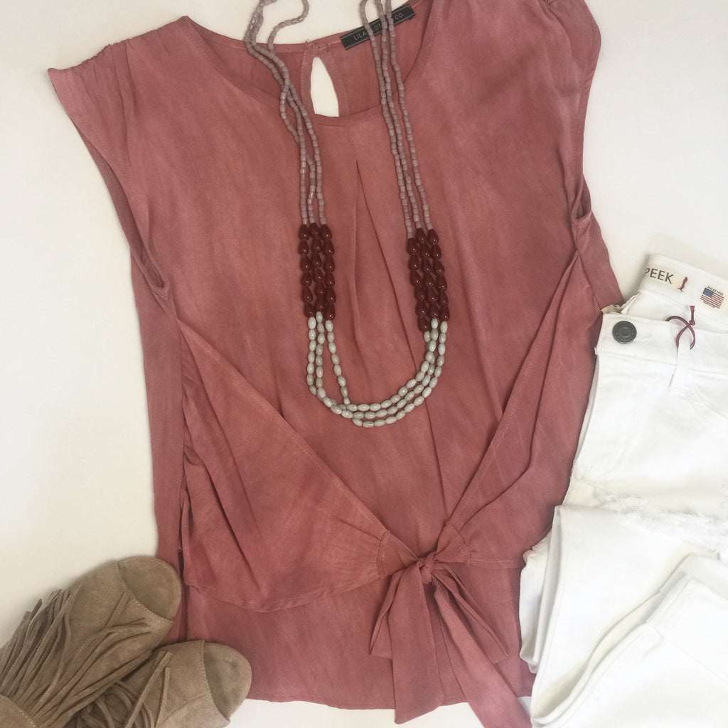 Front tie top in blush