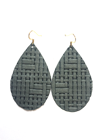 Grace leather earrings in Panama sage