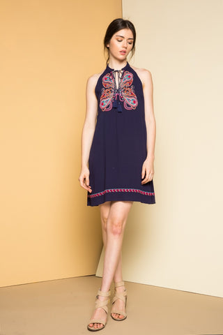 Nelli Halter dress with Embroidery