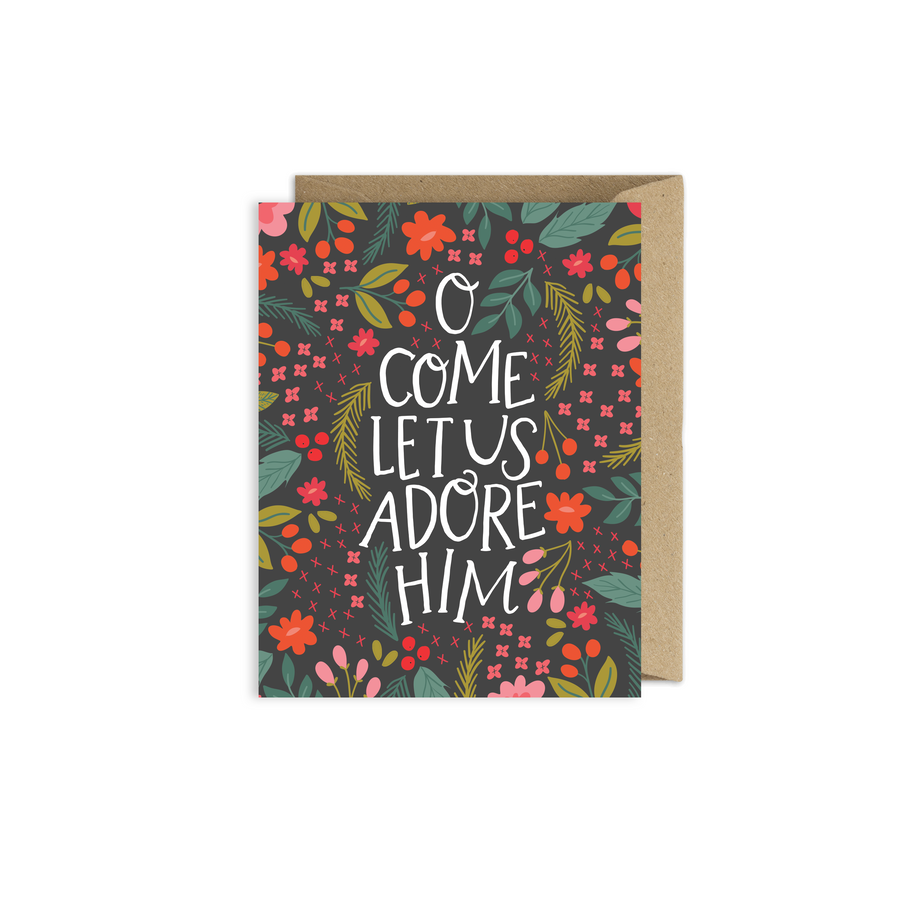 Adore Him Floral Christmas Card