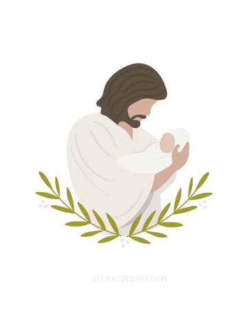Jesus Christ Holding Baby - Miscarriage Grief Illustration - Infant Loss