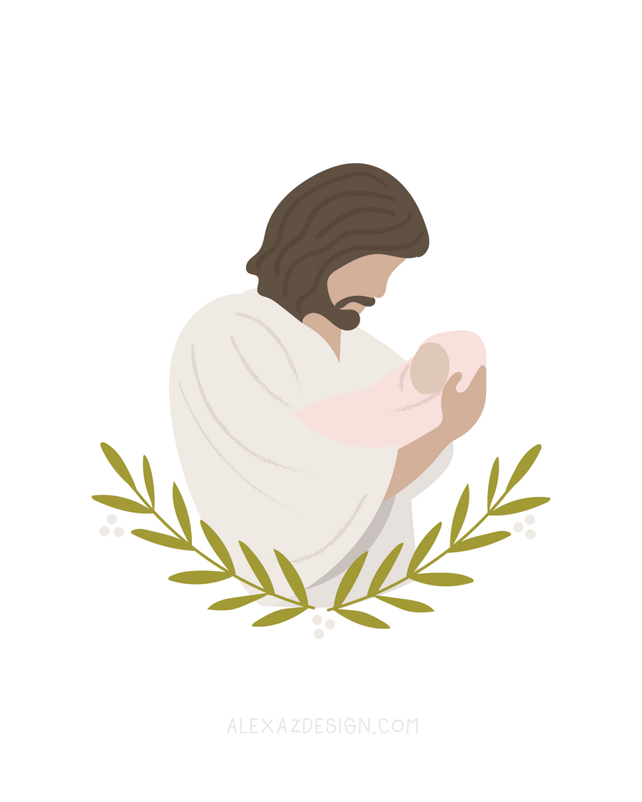 Jesus Christ Holding Baby in Pink - Miscarriage Grief Illustration - Infant Loss