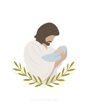 Jesus Christ Holding Baby in Blue - Miscarriage Grief Illustration - Infant Loss