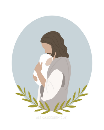 Jesus Christ Holding Baby in Blue Circle - Miscarriage Grief Illustration - Infant Loss