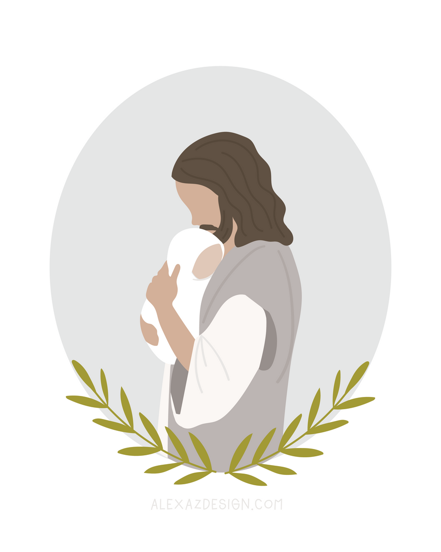 Jesus Christ Holding Baby in Gray Circle - Miscarriage Grief Illustration - Infant Loss