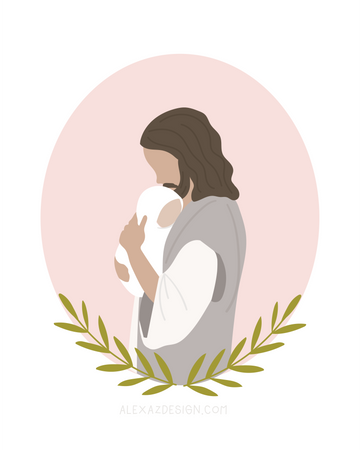 Jesus Christ Holding Baby in Pink Circle - Miscarriage Grief Illustration - Infant Loss