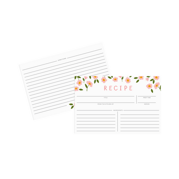 Pink Floral Recipe Cards