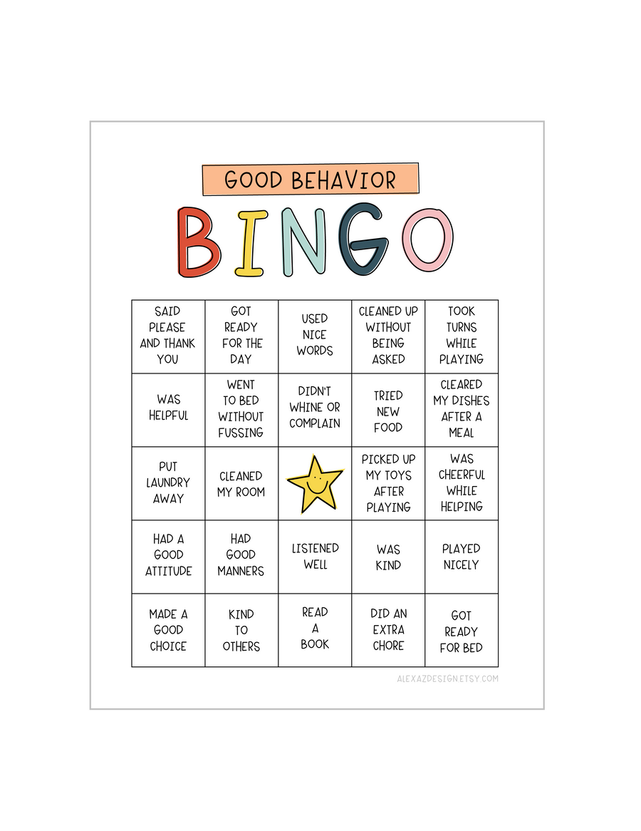 Good Behavior Bingo Printable