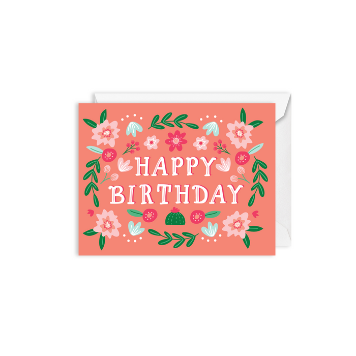 folk floral birthday card