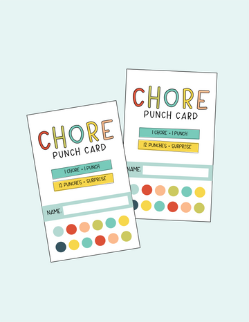 chore chart punch cards
