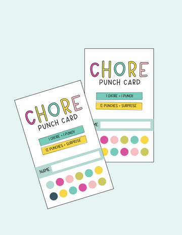 Chore Chart Punch Card in Pink