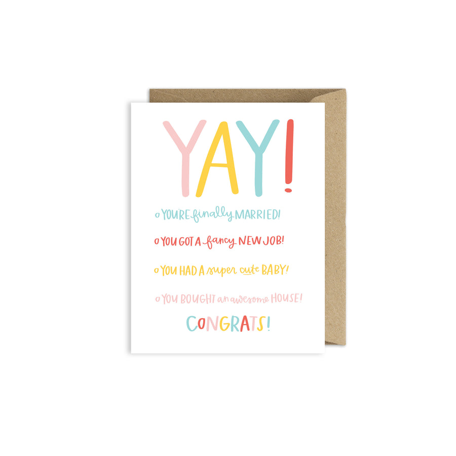 Congratulations YAY Card - Wedding Card - New Baby Card - New Job Card - New House Card