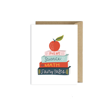 Books Greeting Card - Reading Card - Book Worm - School Books