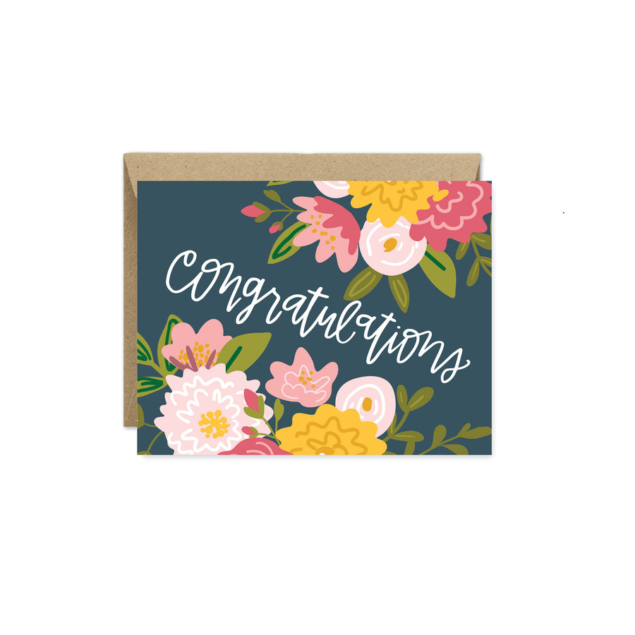 Congratulations Navy Floral Card