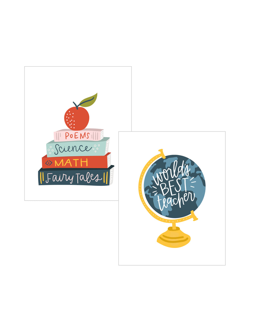DOUBLE PACK Teacher School Art Prints