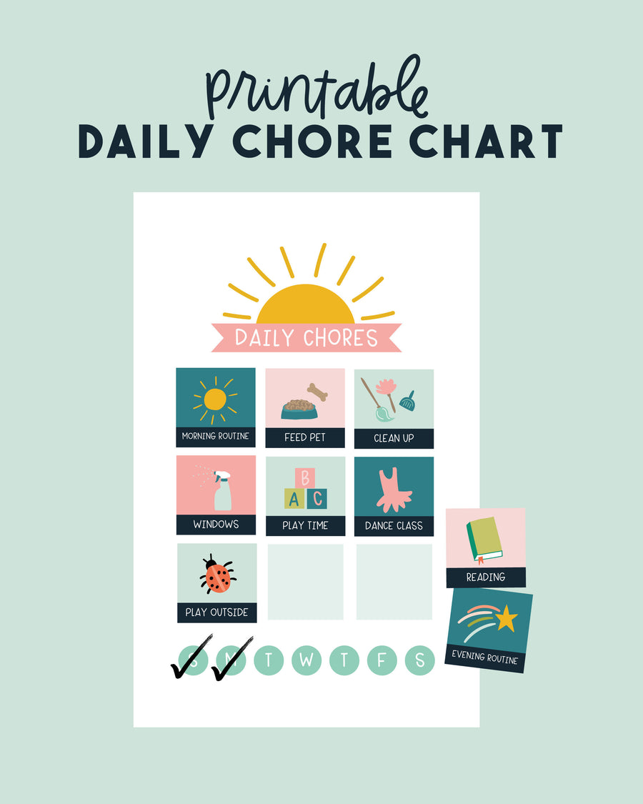Printable Daily Chore Chart Checklist for Kids