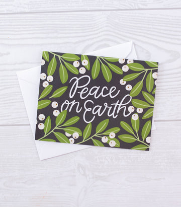 Peace on Earth Floral Christmas Card