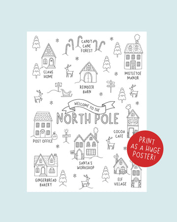 North Pole Christmas Coloring Poster Engineer Print