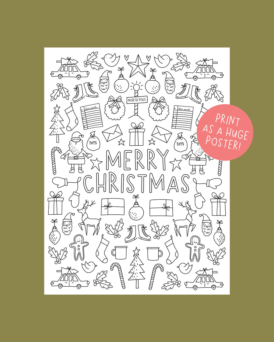 HUGE Christmas Coloring Poster and Holiday Coloring Pages