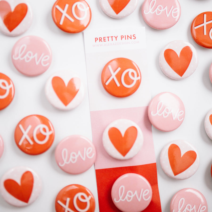 Valentine's Day Button Pins