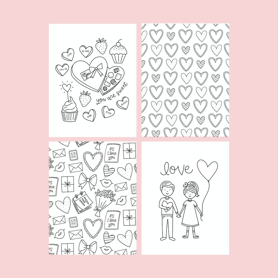 HUGE Valentine Coloring Poster and Coloring Pages