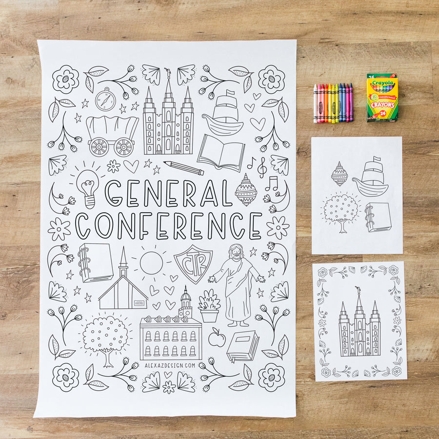 2020 General Conference Coloring Page Printables and Engineer Print