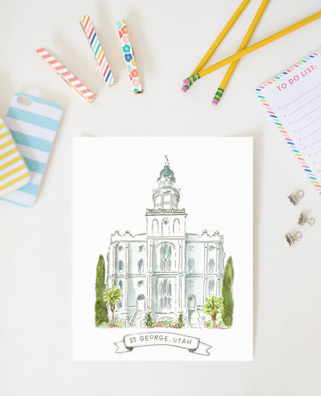 St. George Utah LDS Temple AZ212 - Watercolor Painting - Hand Lettering by Alexa Zurcher - AZ112 - LDS Wall Art