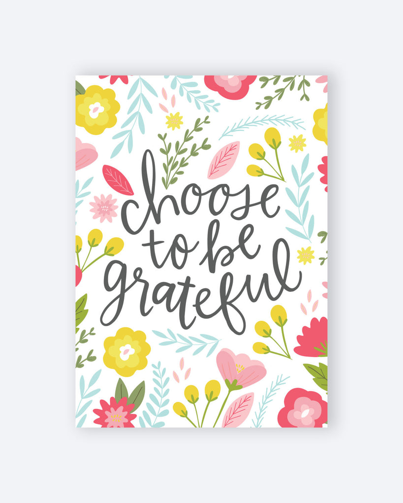 Floral Wall Art Grateful Quote
