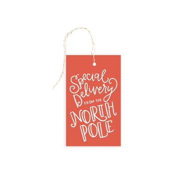 north pole santa gift tag