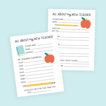 Back to School Teacher Questionnaire Printable