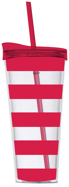 Red Preppy Stripe Tumbler