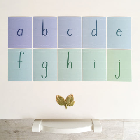 Printed Alphabet Cards, Lowercase, Instant Download