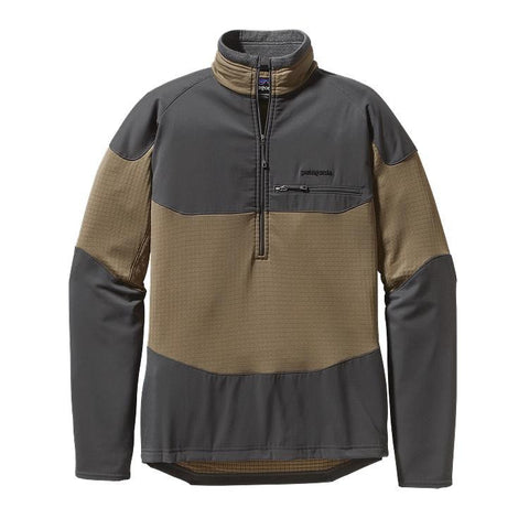 Patagonia Mens's L/S R1 Field 1/4 Zip Ash Tan