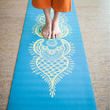Hugger Mugger Gallery Collection Yoga Mat Blue Henna Action Shot