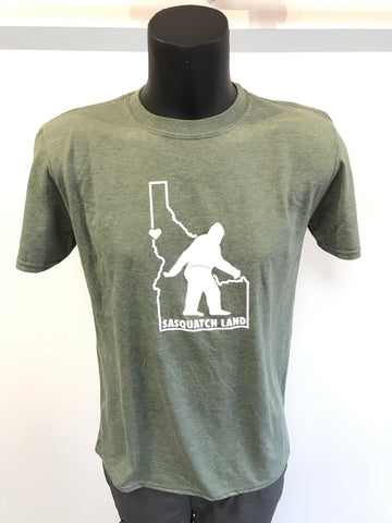 Men's Sasquatch Land Idaho T-Shirt - Military Green
