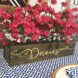 "Personalized ""Davies"" engraved mason jar centerpiece"