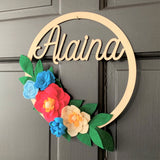 Fall Personalized Felt Flower Wreath