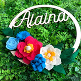 Boho Personalized Felt Flower Wreath