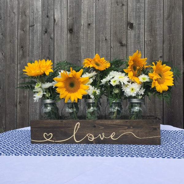 Personalized Engraved Mason Jar Holder Planter Box - Jumbo