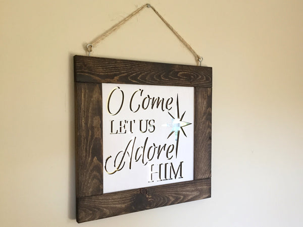 Mirror Wall Art - Come Let us Adore Him
