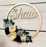 Winter Personalized Felt Flower Wreath