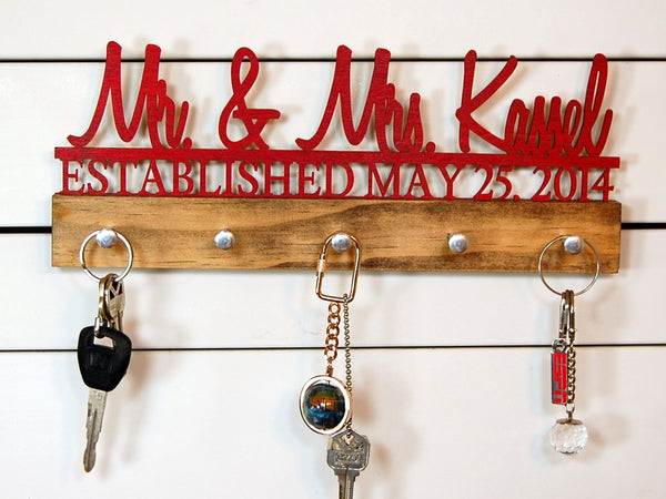 Wedding key holder Mr and Mrs Name Plus Date Established