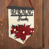 Personalized Poinsettia Felt Wall Hanging