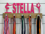 "Personalized ""Stella"" gymnastics themed medal display rack"