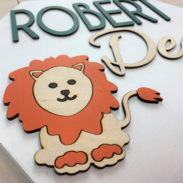 Lion Personalized Nursery Sign